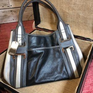 Tignanello Leather Black Gray Silver Shoulder Bag